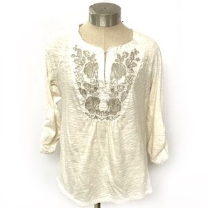 Anthro Meadow Rue Embroidered Boho Popover Top